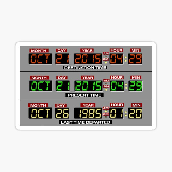 Back to the Future 2 Time Circuits 2015 Sticker