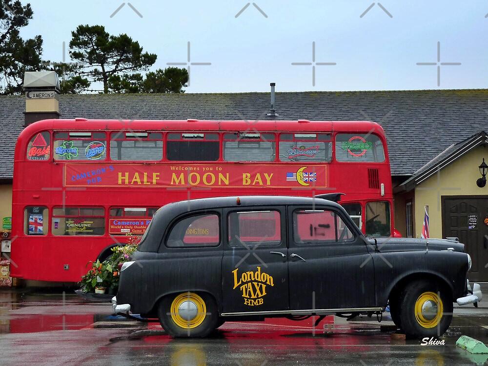 London bus and Taxi - at Half Moon Bay by Shiva77