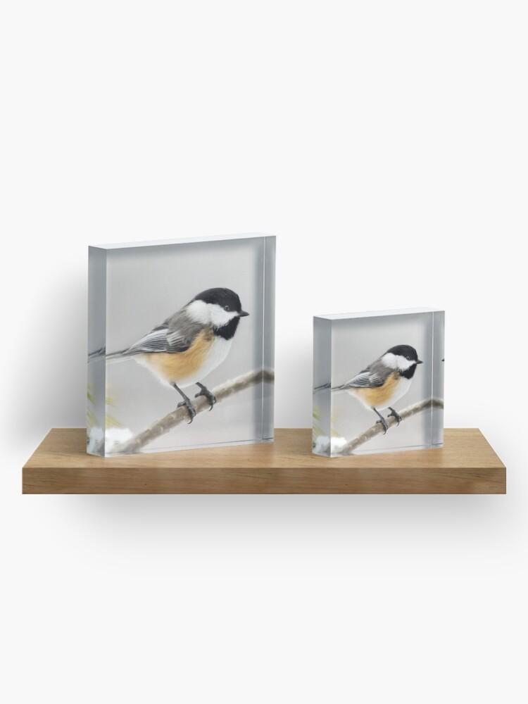 Alternate view of Chickadee Bird Painting Acrylic Block