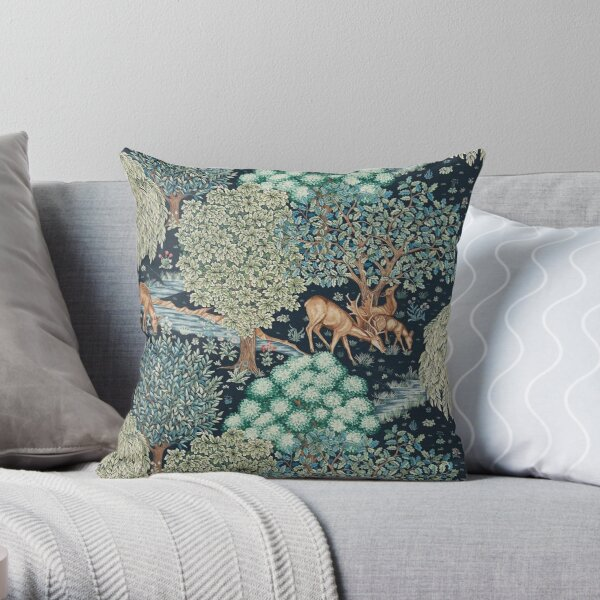 FOREST ANIMALS, DEERS BY A BROOK Blue Green Floral Throw Pillow