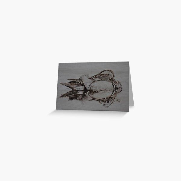 Mandarin Duck pyrography art Greeting Card