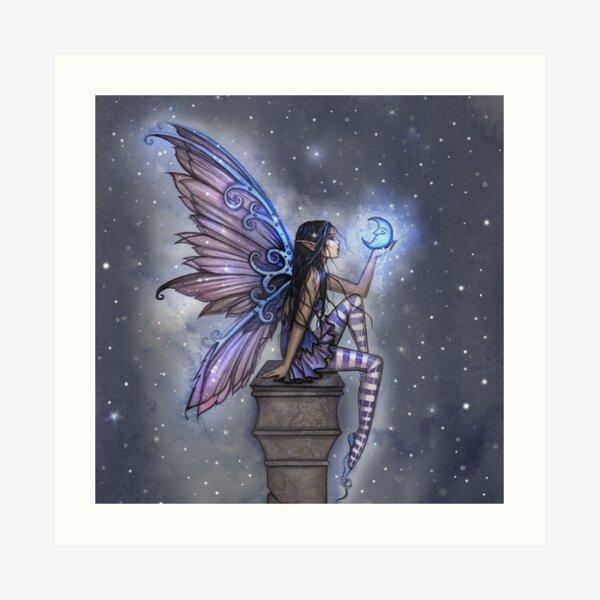 Little Blue Moon Fairy Fantasy Art by Molly Harrison Art Print