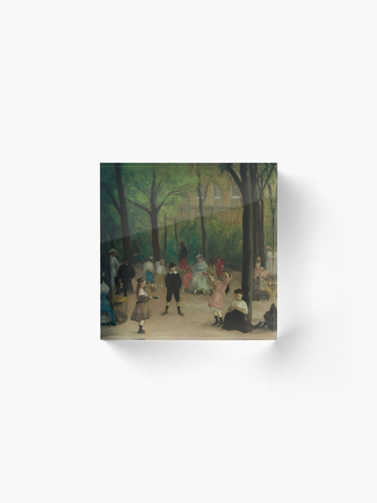 Alternate view of Luxembourg Gardens Oil Painting by William James Glackens Acrylic Block