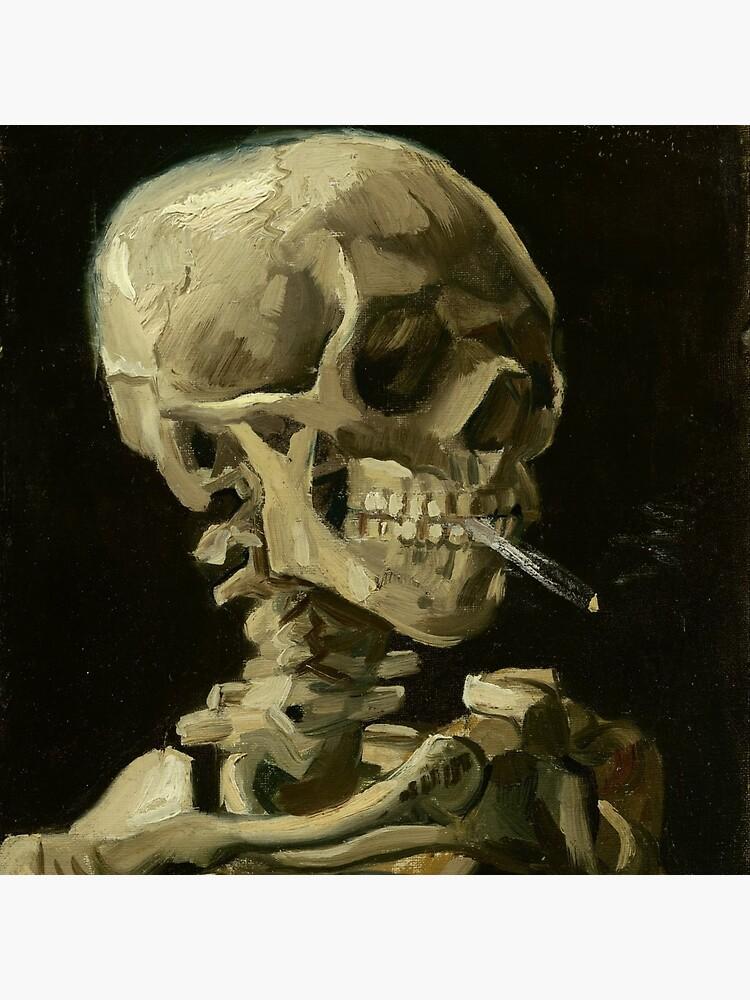 Skull of a Skeleton with Burning Cigarette by Vincent van Gogh by podartist