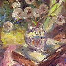 Dandeloin flowers in a vase sunny still life painting by Svetlana  Novikova