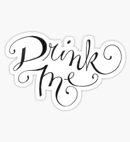 Drink Me Typography on Chalkboard Sticker