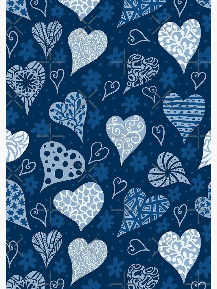 Valentine Boho Blue Hearts by creativinchi