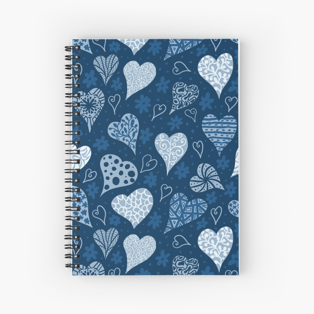 Valentine Boho Blue Hearts Spiral Notebook