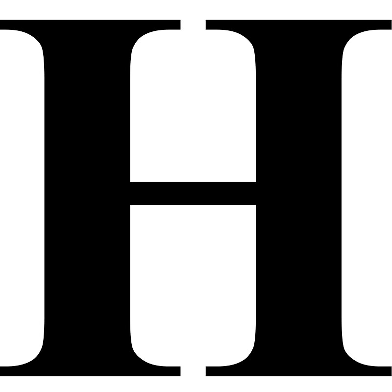 the letter h in black times new roman serif font typeface