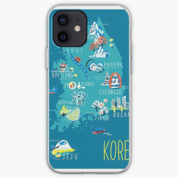 Carte Corée du Sud Coque souple iPhone