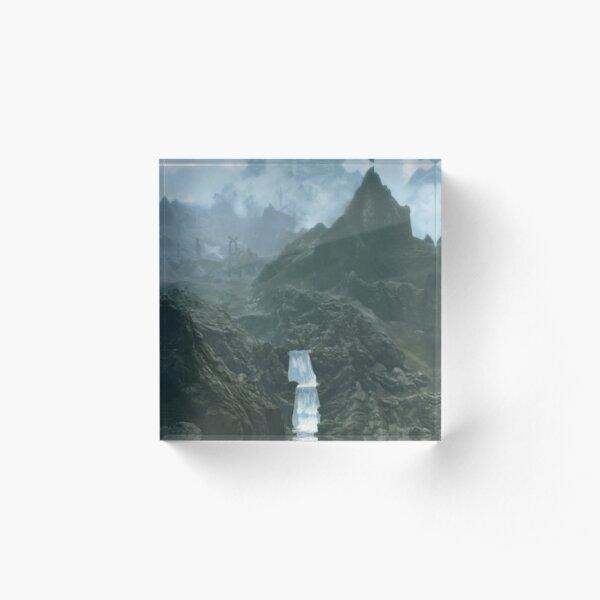 Majestic mountain range with waterfall inspired by The Elder Scrolls Skyrim Acrylic Block