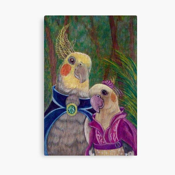 Kik'e the bird and his Girlfriend, Happy Couple of Australian Nymphs  Canvas Print