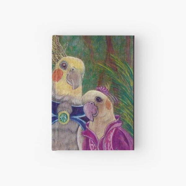 Kik'e the bird and his Girlfriend, Happy Couple of Australian Nymphs  Hardcover Journal