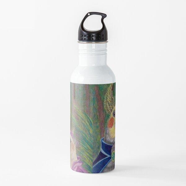 Kik'e the bird and his Girlfriend, Happy Couple of Australian Nymphs  Water Bottle