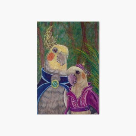 Kik'e the bird and his Girlfriend, Happy Couple of Australian Nymphs  Art Board Print