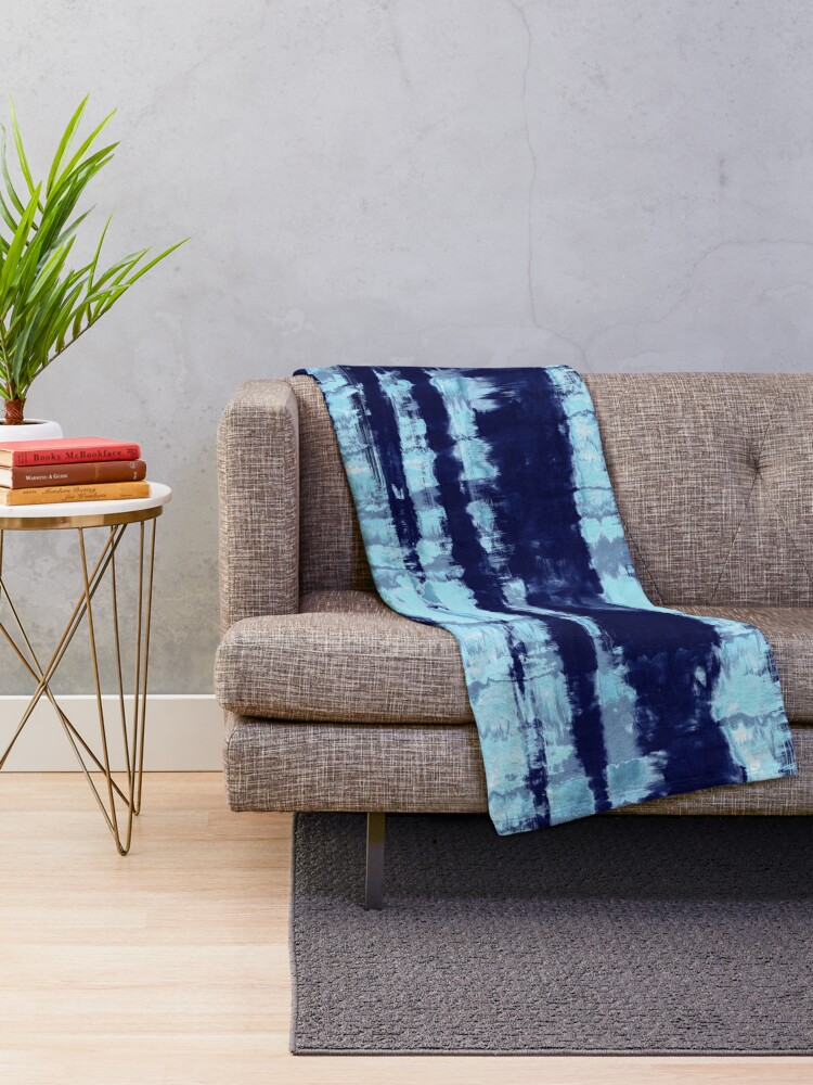 Alternate view of Tie-Dye Shibori Stripe Blues Throw Blanket