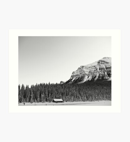 Snowy Trees Surround the Lake Art Print