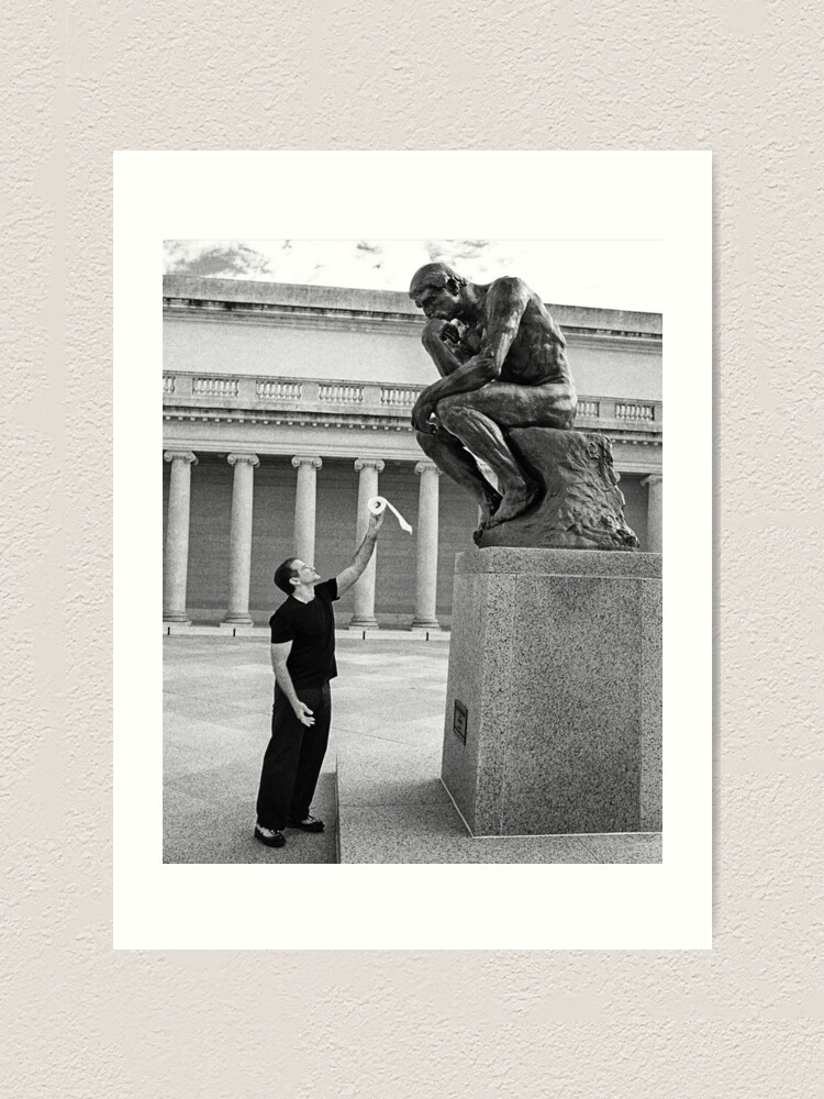 Alternate view of Robin Williams Giving 'The Thinker' Toilet Paper Art Print