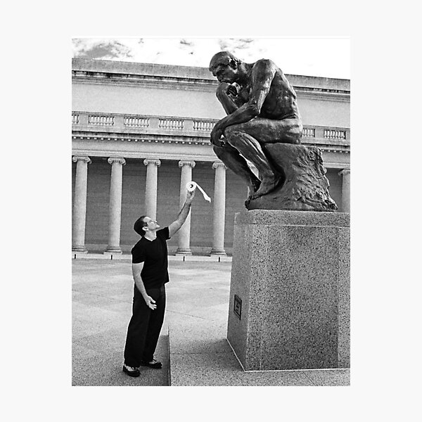 Robin Williams Giving 'The Thinker' Toilet Paper Photographic Print