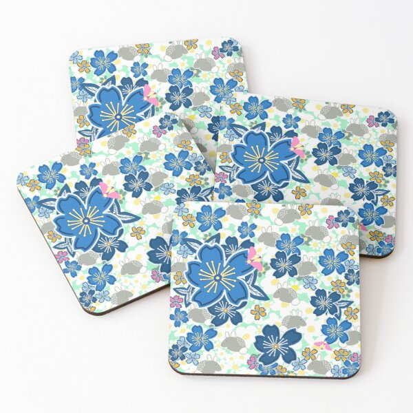 Rabbits and spring flowers Coasters (Set of 4)