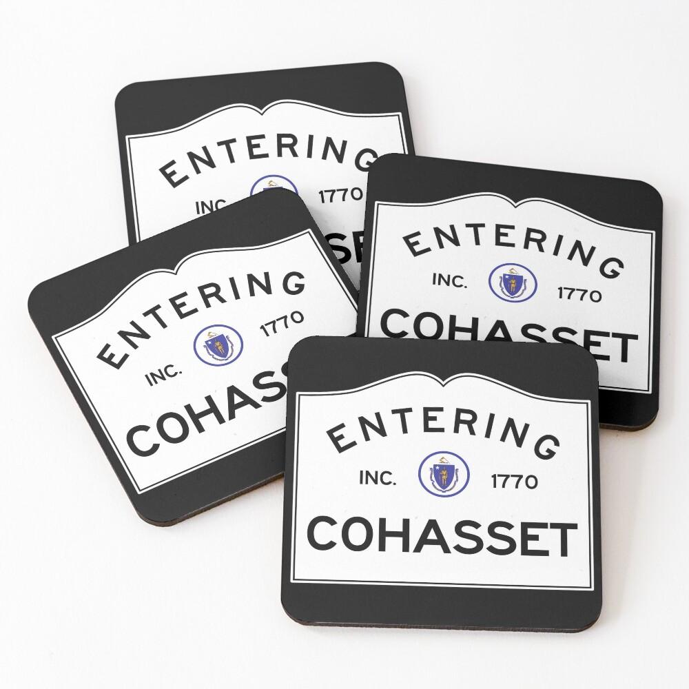 Entering Cohasset Massachusetts - Commonwealth of Massachusetts Road Sign Coasters (Set of 4)
