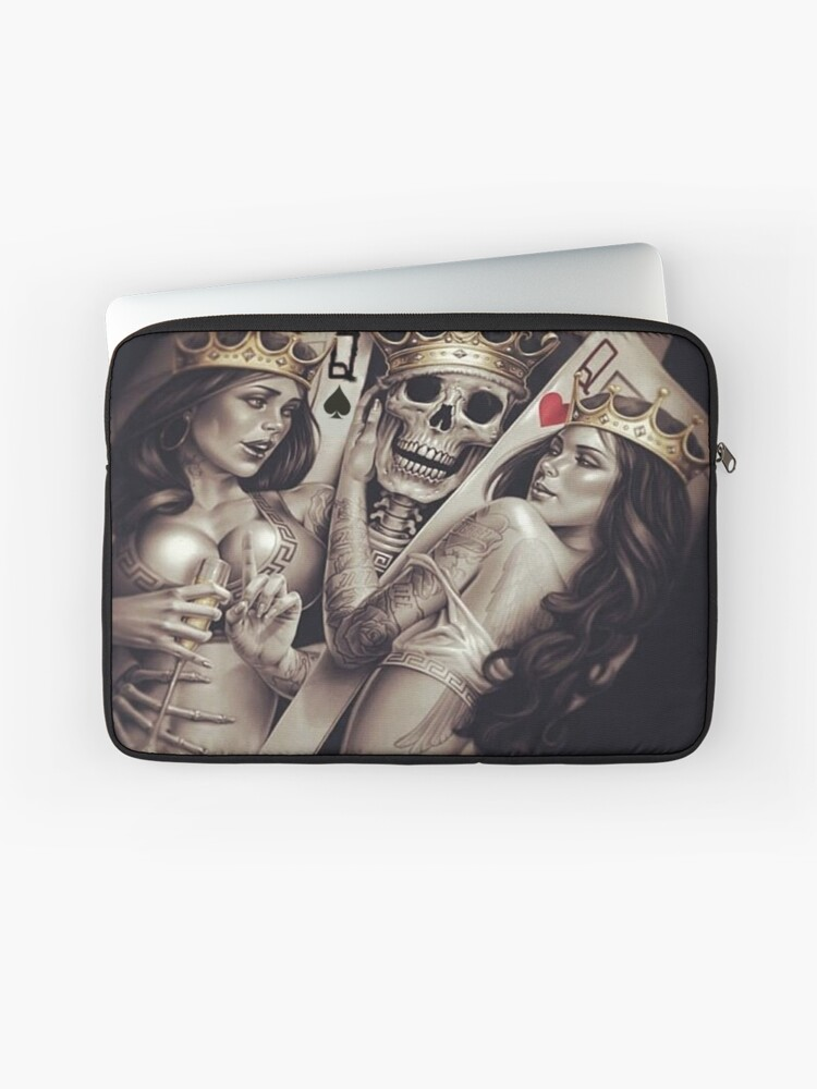 King and queens spades and hearts playing cards cartoon design | Laptop  Sleeve