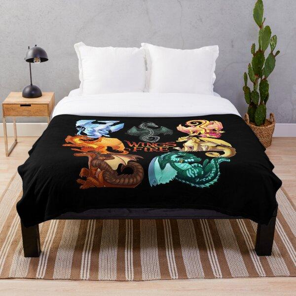 Wings of Fire - Jade Winglet Dragonets: Moonwatcher, Winter, Qibli, Peril, Turtle, Umber, Kinkajou Throw Blanket
