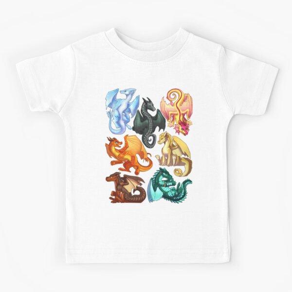Wings of Fire - Jade Winglet Dragonets: Moonwatcher, Winter, Qibli, Peril, Turtle, Umber, Kinkajou Kids T-Shirt