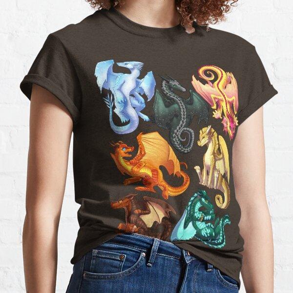 Wings of Fire - Jade Winglet Dragonets: Moonwatcher, Winter, Qibli, Peril, Turtle, Umber, Kinkajou Classic T-Shirt