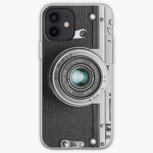 Camera with blue lens for funny photographer gift iPhone Soft Case