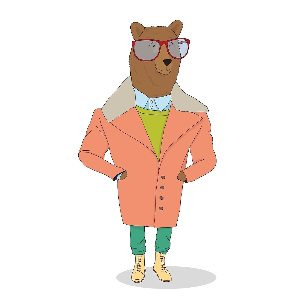 hipster bear by thelazypigeon