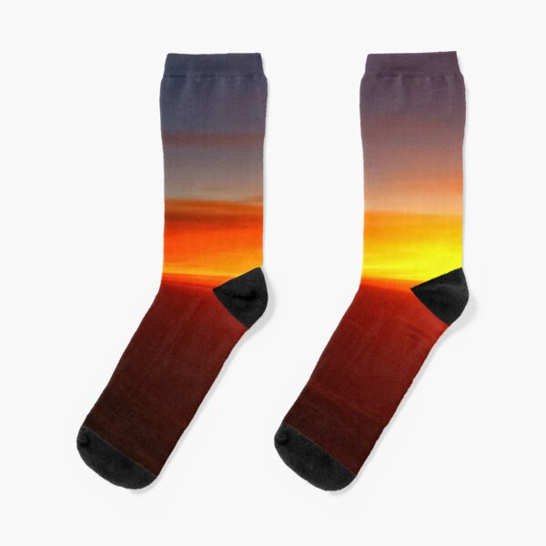 Rainbow dusk sky, red hot clouds, horizon, great ending day, popular Socks