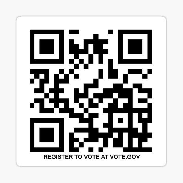 Register to Vote QR Code Sticker