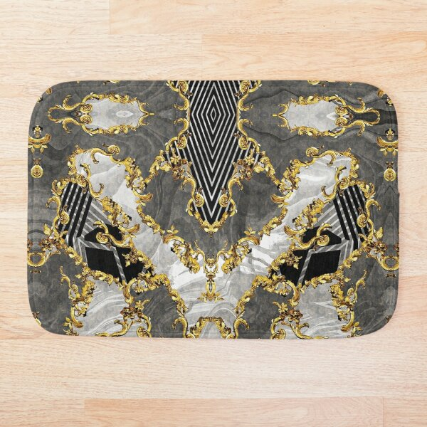 Baroque Inspired Stripes Print Luxury Golden DECORATIVE EUROPEAN DESIGN Bath Mat