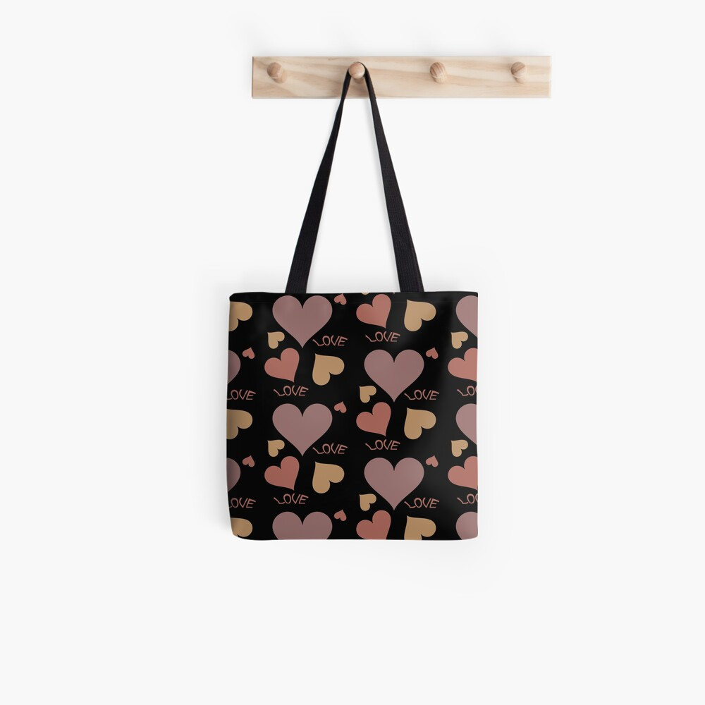Romantic love hearts in shades of brown Tote Bag