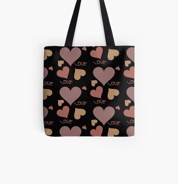 Romantic love hearts in shades of brown All Over Print Tote Bag