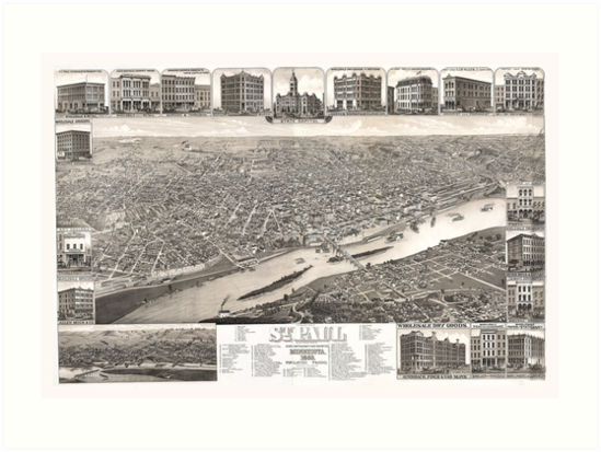 1883 Map of Saint Paul, Minnesota by Mingjai