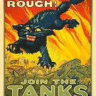 Join the Tanks Corps ~ War Recruiting Poster ~ Black Cat Army Tank ~ 0592 by ContrastStudios