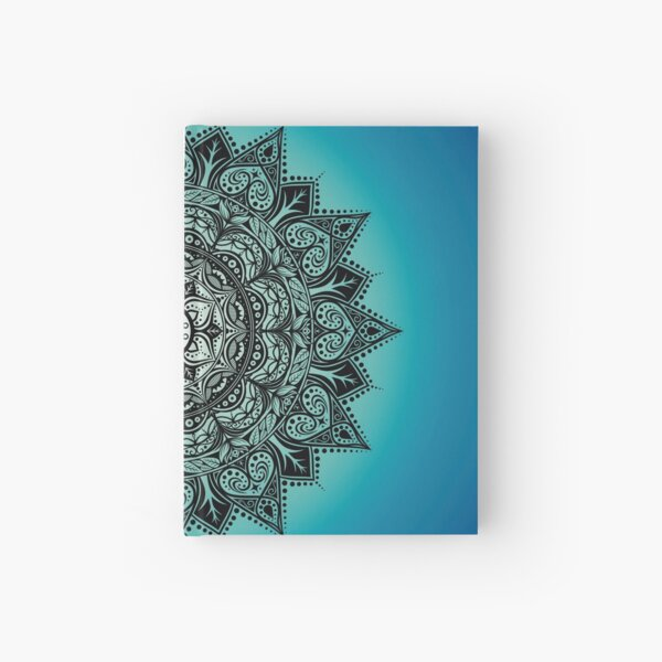 Abstract Mandala with Teal and Turquoise Ombre Background Hardcover Journal