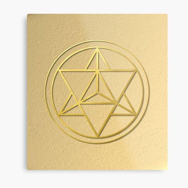 Merkabah Star Tetrahedron gold sacred geometry mandala healing protection amulet  Metal Print
