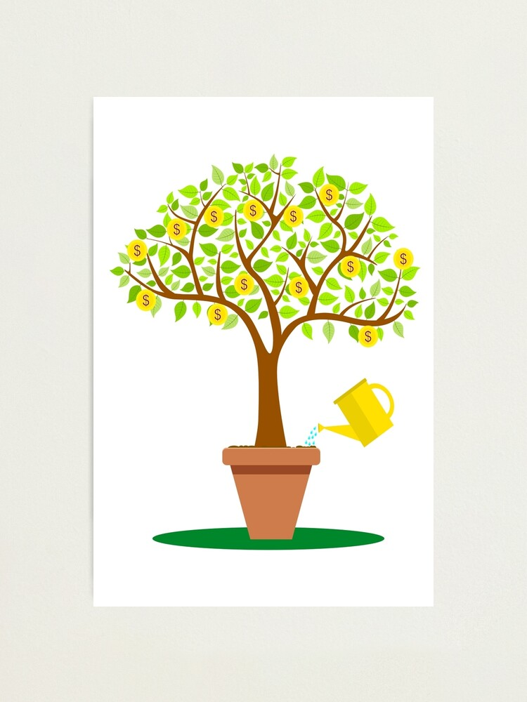 Cartoon Money Tree With Leafs Made From Coins Photographic Print By Nerdysherds Redbubble