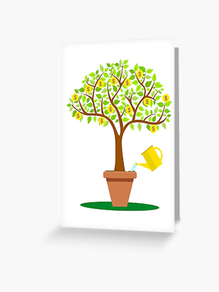 Cartoon Money Tree With Leafs Made From Coins Greeting Card By Nerdysherds Redbubble