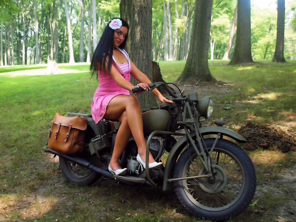 Ashley on a WWII Indian motorcycle by LibertyCalendar