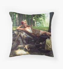 Dawn on a Matchless motorcycle Throw Pillow