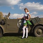 Carolyn with a captured Kubelwagen by LibertyCalendar