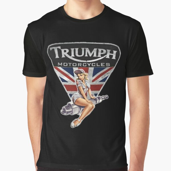 Triumph Vintage Motorcycle Logo PinUp Graphic T-Shirt