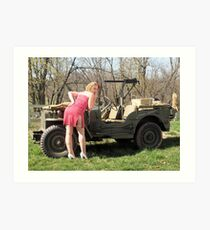 Cassie and 1944 Willys MB Art Print