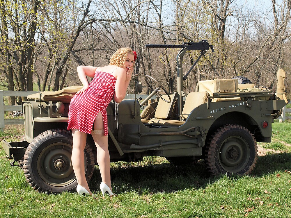 Cassie And 1944 Willys MB By LibertyCalendar