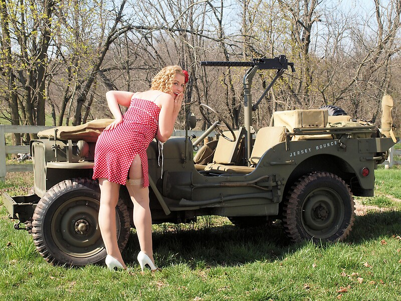 Cassie And 1944 Willys MB Posters By LibertyCalendar