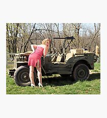 Cassie and 1944 Willys MB Photographic Print